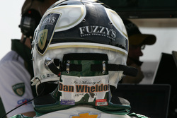 Ed Carpenter, CFH Racing Chevrolet with a tribute to Dan Wheldon on his helmet