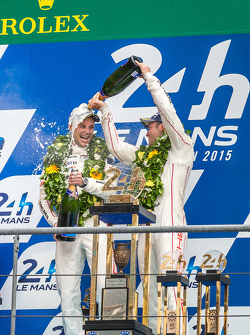 LMP1 podium: class and overall winners Porsche Team: Nick Tandy and Earl Bamber celebrate