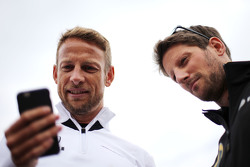 Jenson Button, McLaren Honda and Romain Grosjean, Lotus F1 Team