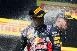 Daniel Ricciardo, Red Bull Racing celebrates his third position on the podium