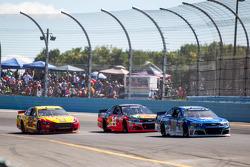 Dale Earnhardt Jr. Hendrick Motorsports Chevrolet and Tony Stewart, Stewart-Haas Racing Chevrolet and Joey Logano, Team Penske Ford