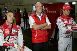 Dr. Wolfgang Ullrich, head of Audi Sport with Benoit Tréluyer and Andre Lotterer, Audi Sport Team Joest