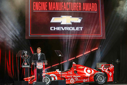 Chevrolet U.S. Vice President Performance Vehicles and Motorsports Jim Campbell receives the Verizon IndyCar Series Manufacturer's Award