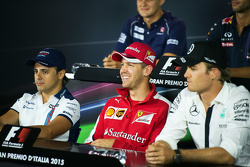 Felipe Massa, Williams, Sebastian Vettel, Ferrari and Nico Rosberg, Mercedes AMG F1 in the FIA Press Conference