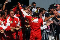 Sebastian Vettel, Ferrari viert tweede plaats in parc ferme