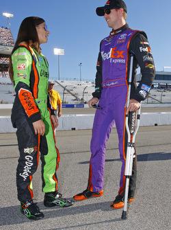 Denny Hamlin, Joe Gibbs Racing on crutches