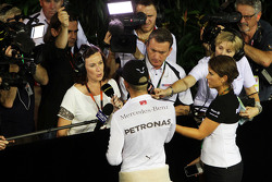 Lewis Hamilton, Mercedes AMG F1 with Lee McKenzie, BBC Television Reporter and Craig Slater, Sky F1 Reporter