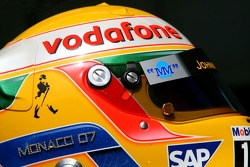 Helmet of Lewis Hamilton, McLaren Mercedes, with Steinmetz Diamonds