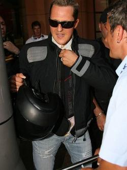 Michael Schumacher arrives at the circuit
