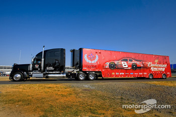 Hauler for the Bud Chevy team enters the track
