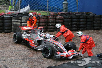Fernando Alonso, McLaren Mercedes, MP4-22 has an off-track excursion