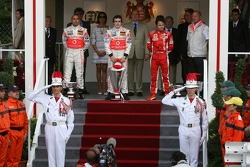 Podium: race winner Fernando Alonso with Lewis Hamilton and Felipe Massa