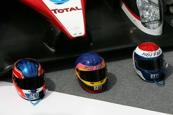Helmets of Nicolas Minassian, Jacques Villeneuve and Marc Gene