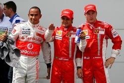Pole Position 1st, Felipe Massa, Scuderia Ferrari, F2007, 2nd, Lewis Hamilton, McLaren Mercedes, MP4-22, 3rd, Kimi Raikkonen, Scuderia Ferrari, F2007