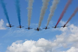 The RAF Red Arrows perform their air display