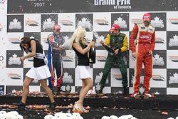 Podium: race winner Will Power with Neel Jani, Justin Wilson