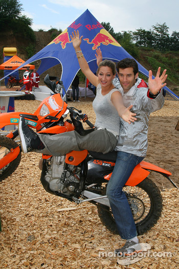 Zoe Bell Award winning Movie stunt double, with Mark Webber, Red Bull Racing on a KTM Motorcycle