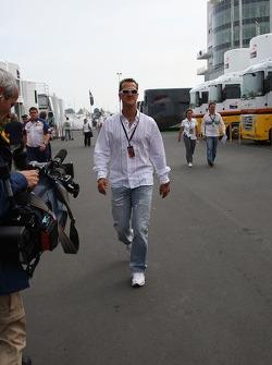 Michael Schumacher, Scuderia Ferrari, Advisor arrives at the track on begin of the first training session