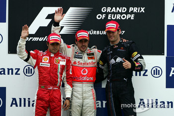 Podium: race winner Fernando Alonso with Felipe Massa and Mark Webber