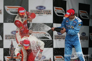 Podium: champagne for Sébastien Bourdais, Justin Wilson and Graham Rahal