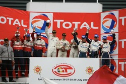 GT2 podium: class winner Marc Lieb, Emmanuel Collard and Matteo Malucelli, second place Richard Lietz, Patrick Long and Raymond Narac, third place Leo Machitski, Sean Edwards and Sascha Maassen