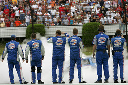 Miller Lite Dodge crew members celebrate the win of Kurt Busch