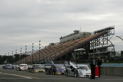 Cars line up before the practice session