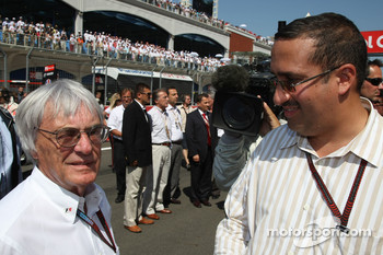 Bernie Ecclestone and Fawaz bin Muhammed Al Khalifa Chairman of Bahrain circuit and McLaren shareholder