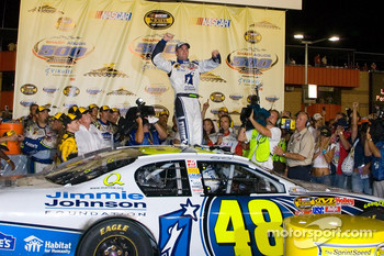 Victory lane: winner Jimmie Johnson celebrates