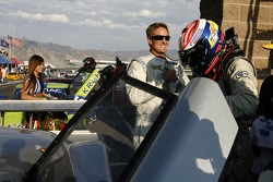Race winners Marc Goossens and Ryan Hunter-Reay celebrate