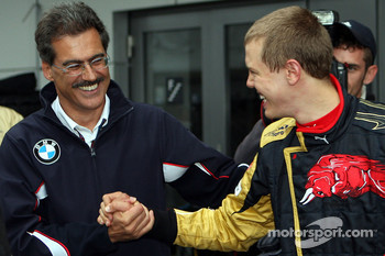 Dr. Mario Theissen, BMW Sauber F1 Team, BMW Motorsport Director and Sebastian Vettel, Scuderia Toro Rosso