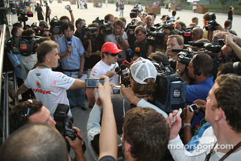 Fernando Alonso, McLaren Mercedes with the media