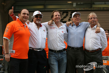 l-r, Colin Kolles, Spyker F1 Team, Team Principal, Dr Vijay Mallya, Kingfisher, Michiel Mol, Director of Formula One Racing, Spyker, Jan Mol and Fred Mulder, Spyker