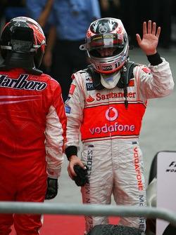 1st place Kimi Raikkonen, Scuderia Ferrari and 2nd place Fernando Alonso, McLaren Mercedes