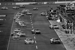 Cars make their way on pit road