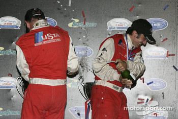 GT1 podium: champagne for Fredy Lienhard and Andrea Bertolini