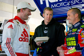 Dale Earnhardt Jr. with Alan Gustafson, crew chief for the # 25 National Chevrolet and Casey Mears