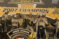 Championship victory lane: 2007 NASCAR Nextel Cup champion Jimmie Johnson celebrates