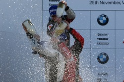 Podium: champagne for Philipp Eng, Josef Kral and Marco Witmann