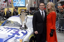 Jimmie and Chandra Johnson pose for a photo in Times Square
