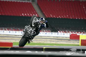 Chris Pfeiffer on his BMW motorbike
