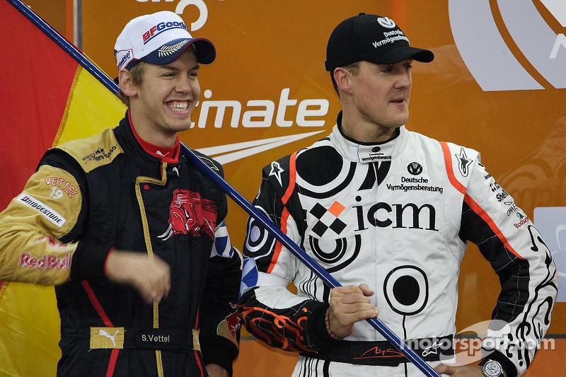 Podium: Nations Cup winners Sebastian Vettel and Michael Schumacher