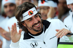 Fernando Alonso, McLaren celebrates his 250th GP