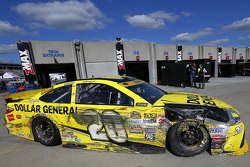 Matt Kenseth, Joe Gibbs Racing Toyota in the garage after a crash