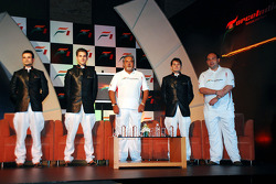 Vitantonio Liuzzi Force India F1, Adrian Sutil Force India F1, Vijay Mallya CEO Kingfisher, Giancarlo Fisichella Force India F1 and Dr Colin Kolles Force India Team Principal