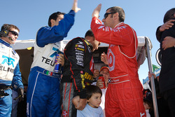 Memo Rojas, Juan Pablo Montoya and Dario Franchitti celebrate win