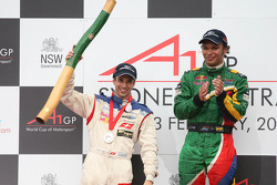3rd, Neel Jani, driver of A1 Team Switzerland and Winner, 1st, Adrian Zaugg, driver of A1 Team South Africa