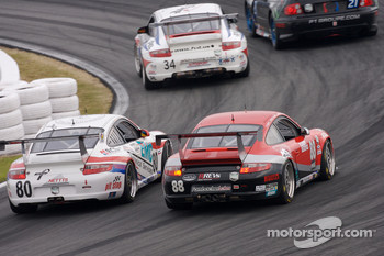 #80 Synergy Racing Porsche GT3 Cup: Lance Arnold, Damien Faulkner, Mark Greenberg, Jan Heylen, #87 Farnbacher Loles Porsche GT3 Cup: Timo Bernhard, Pierre Ehret, Dominik Farnbacher, Dirk Werner