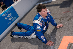 Alltel Dodge crew member stretches before the race