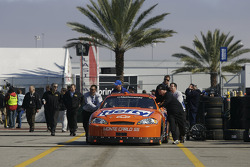 Eric McClure pushed in the garage area